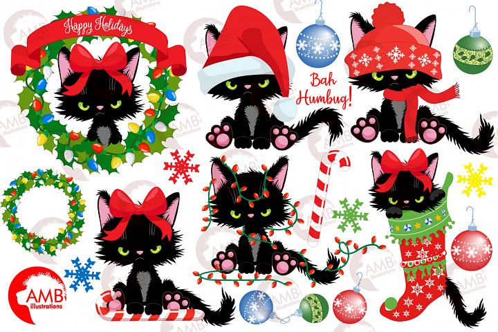 Christmas Kitty for Christmas Clipart AMB-2660