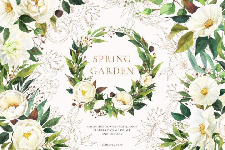 SPRING GARDEN greenery, white flowers, foliage