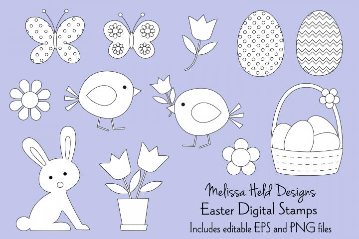 Easter Digital Stamps Clipart
