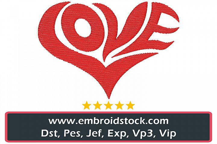 Love Shape Valentines Embroidery Design