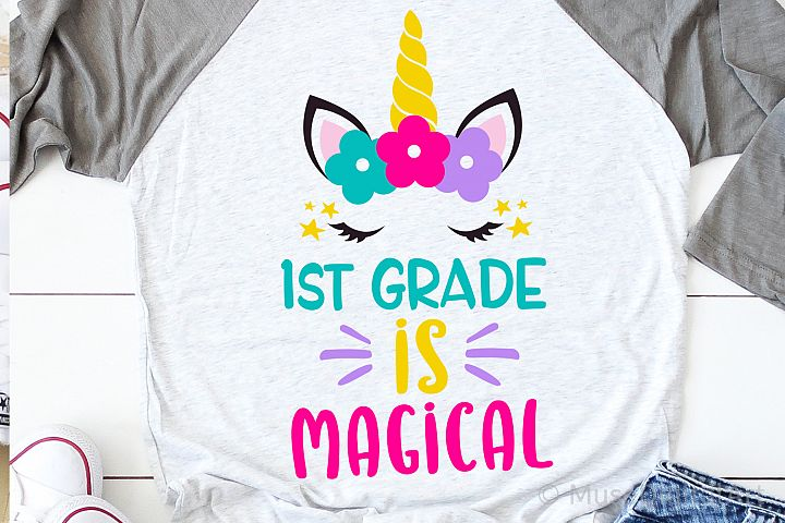 1st Grade is Magical Svg, Girl First Grade Unicorn Svg File