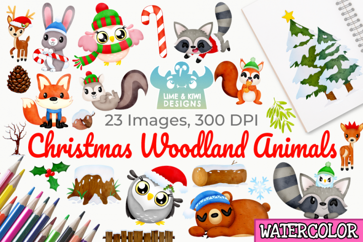 Christmas Woodland Animals Watercolor Clipart