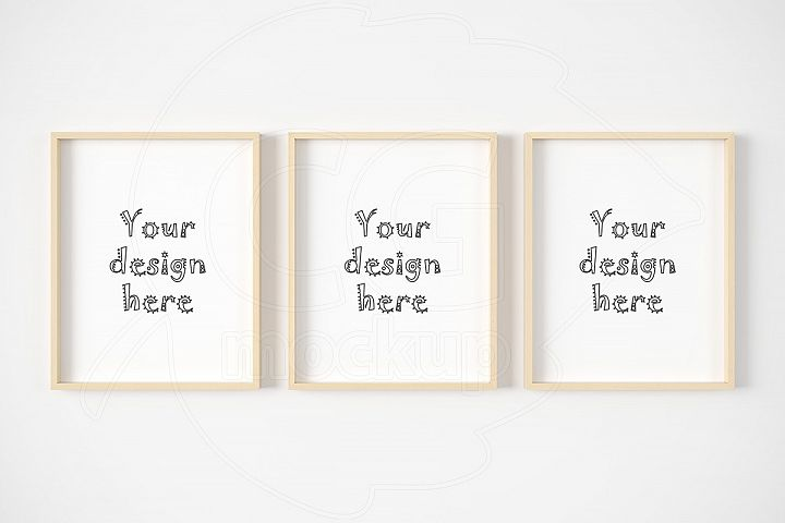 Set of three light wood frame mockup