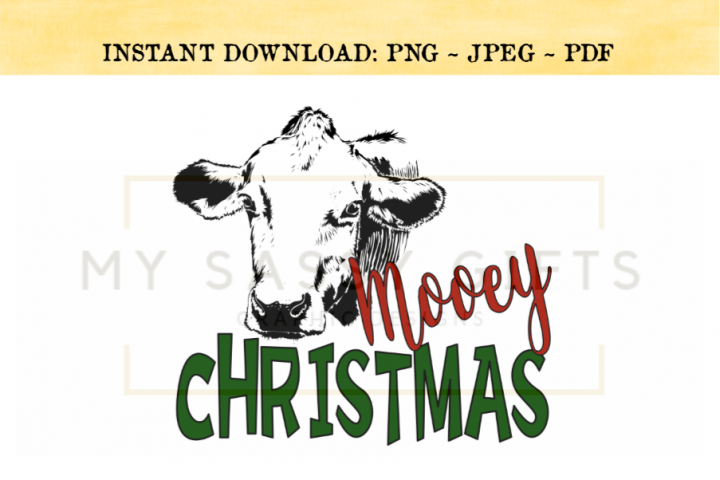 Mooey Christmas With Cow Funny PNG Print