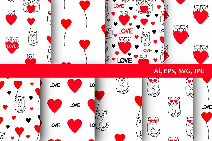 9 Seamless patterns with cats and hearts, 5 icons.