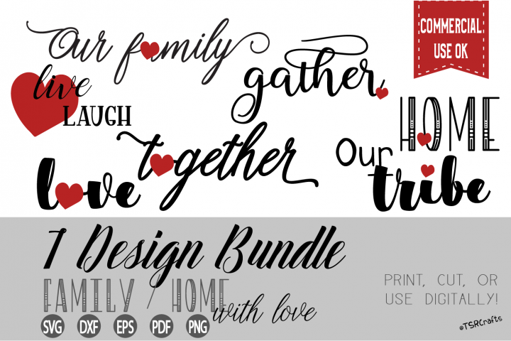 Home & Family with LOVE SVG cut files and PNG clipart