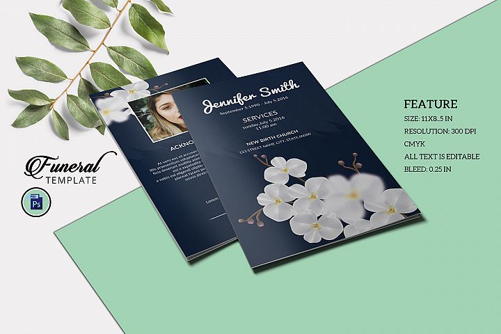 Obituary Template, Funeral Program Template