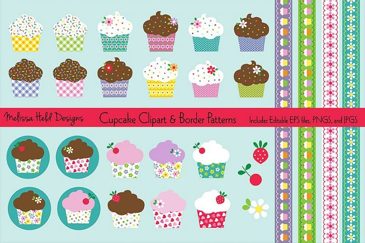 Cupcake Clipart & Border Patterns