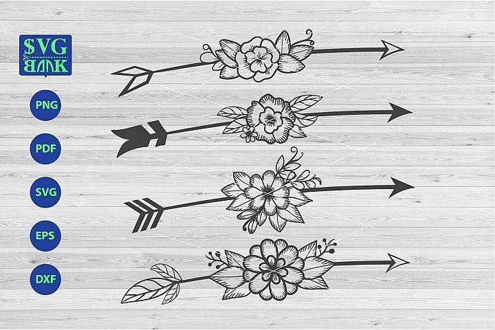 Arrows svg, arrow with flower cutfile, arrow boho tribal dxf
