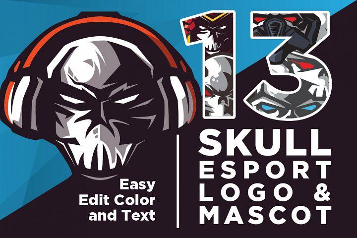 13 Editable Skull Esport Logo and Mascot