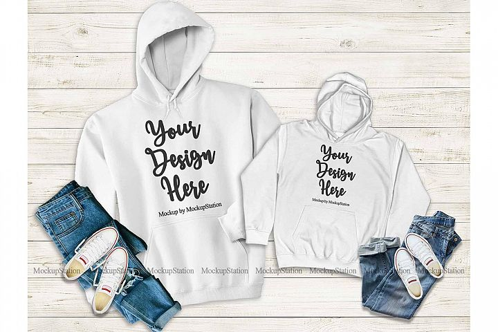 Mommy And Me White Hoodie Mockup, Matching Family Hoodies