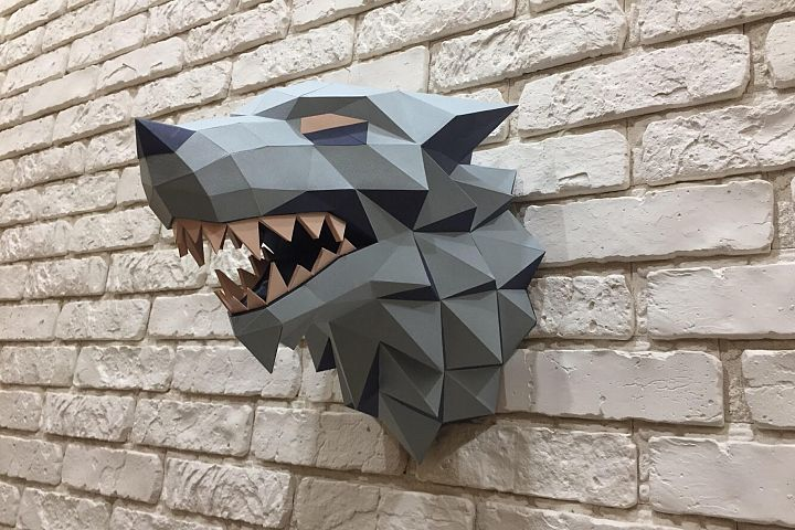 Game of Thrones, Winter is coming, Paper Wolf, Direwolf, Wolf Head, Papercraft Wolf, House Stark, animal head, Home Decoration, Printable