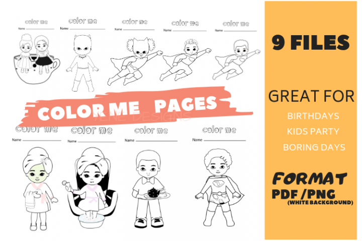 Coloring page, kids activities, birthday, wedding, color me