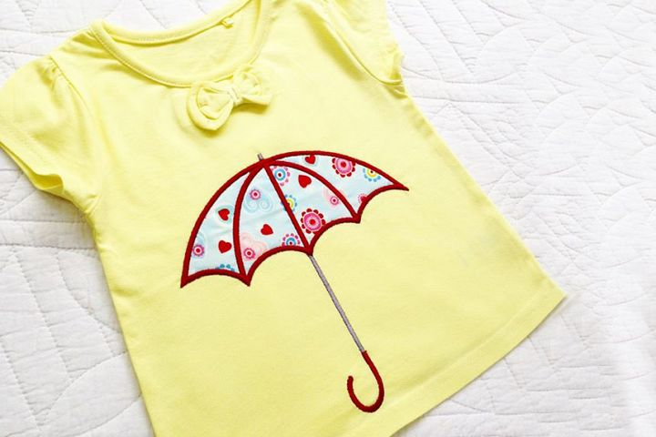 Umbrella Applique Embroidery Design