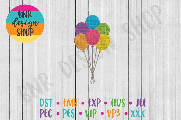 Rainbow Machine Embroidery Design, Balloons Embroidery