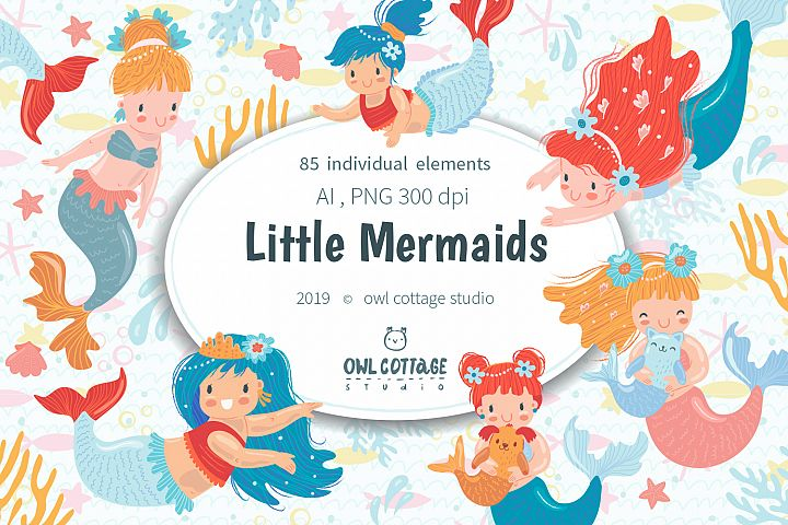 Little Mermaids vector and raster Clipart Set.