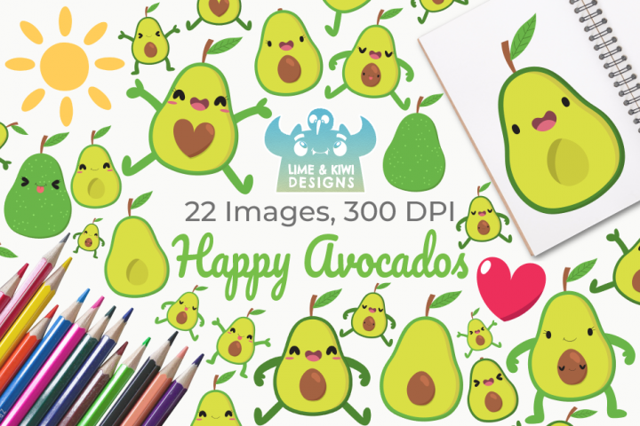 Happy Avocados Clipart, Instant Download Vector Art