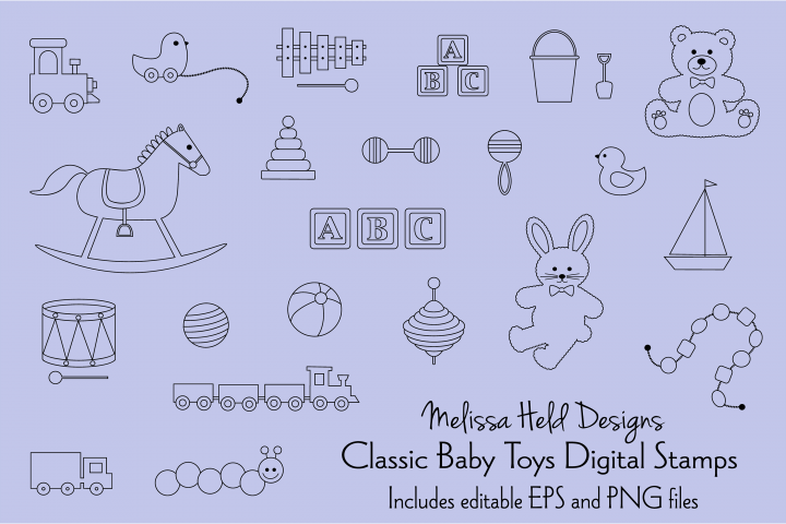 Classic Toys Digital Stamps Clipart