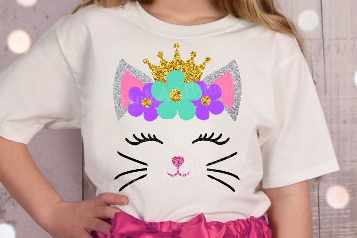 Cat Princess Girl Cute Kids Design