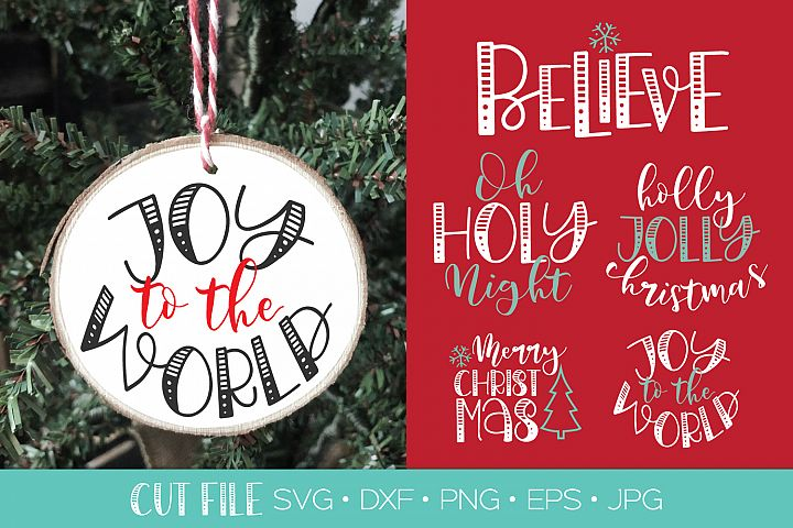5 Christmas Ornament Cut Files SVG DXF | Christmas SVG