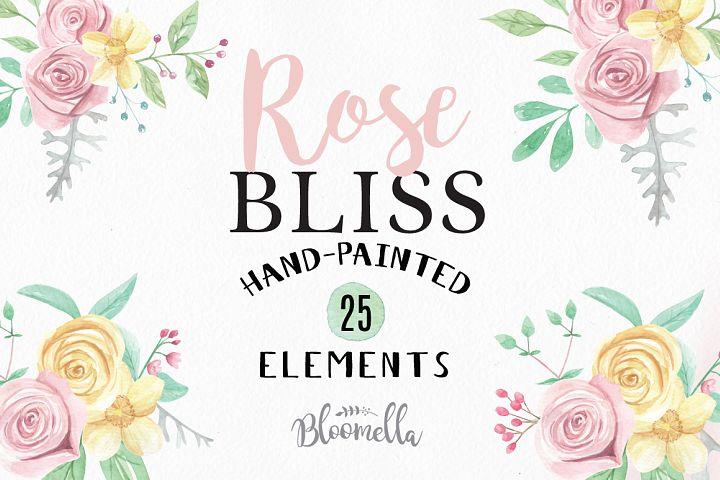 Rose Bliss Watercolor Floral Clipart Flowers Elements 25