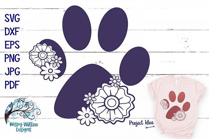 Floral Paw Print | Animal SVG Cut File