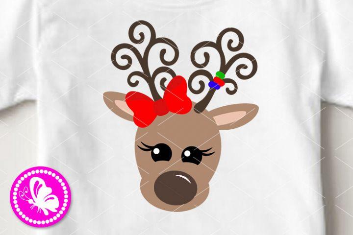Deer face svg Reindeer antlers Bow Baby girl design Xmas png