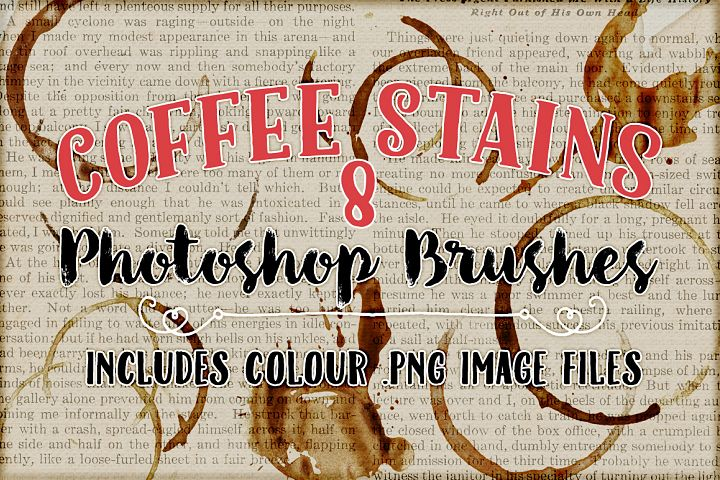 Coffee Stains Photoshop Brushes - Free Design of The Week Font