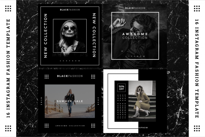 Black Fashion Instagram Fashion template