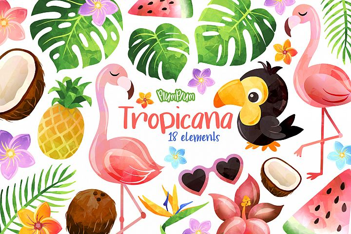 Tropical Watercolor Cliparts