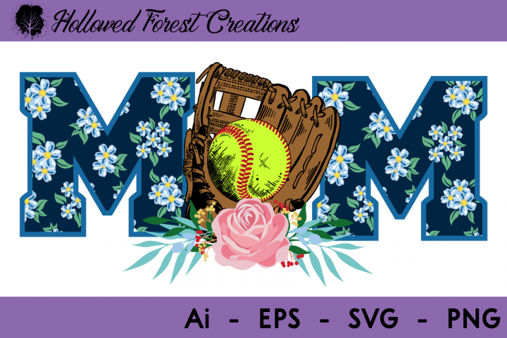 Floral Softball Mom