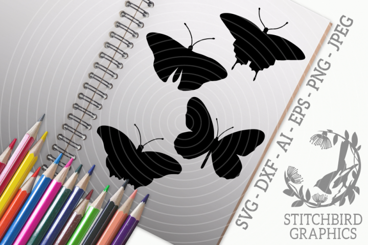 Butterflies Silhouettes Bundle SVG, Silhouette Studio