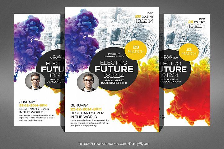 Electro Future Smoke Party Flyer