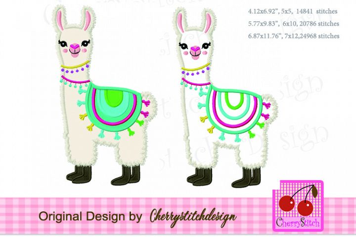Llama machine embroidery applique design