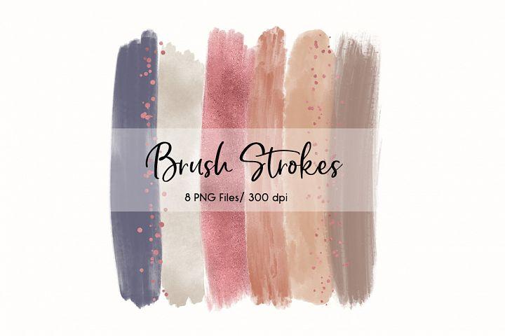 Brush Strokes Clip Art (Rose Gold II)