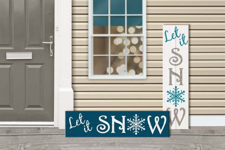 Let It Snow Christmas Porch Sign SVG Design