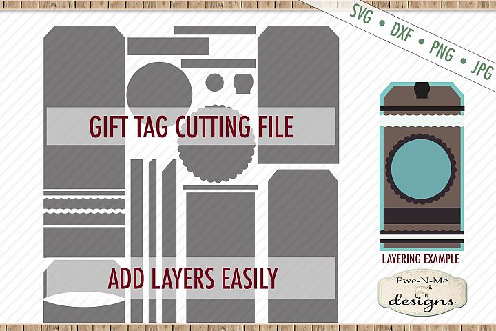 Gift Tag Cut File - Layered Gift Tags - Tag Shape - SVG DXF