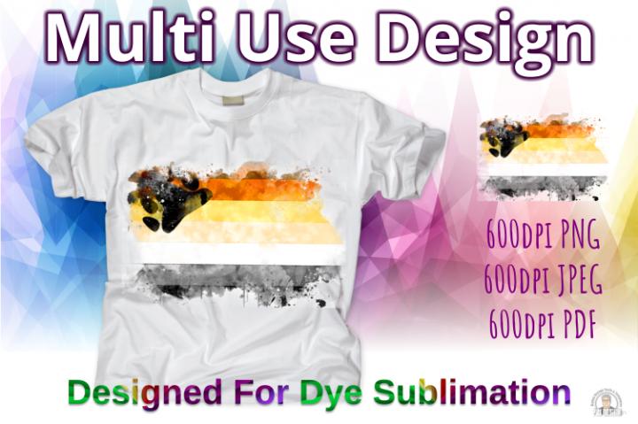 Bear Pride Flag Ink Splash Sublimation Design