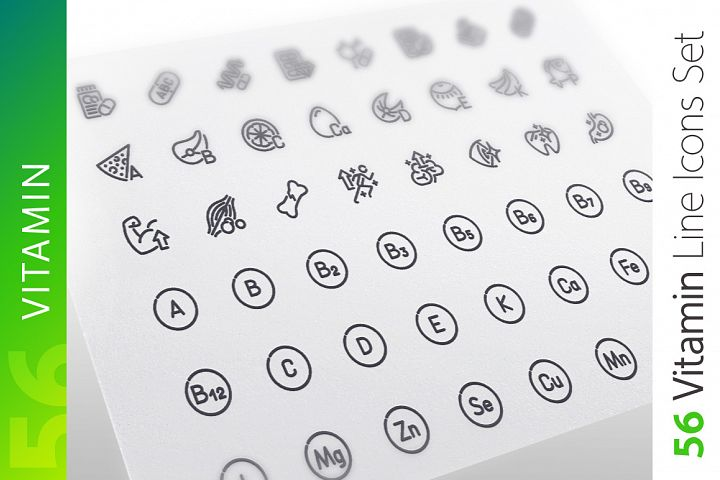 Vitamin Line Icons Set