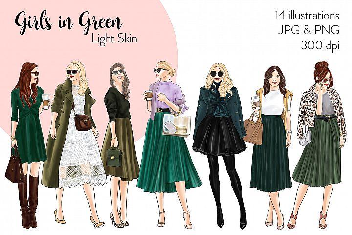 Fashion illustration clipart - Girls in Green - Light Skin