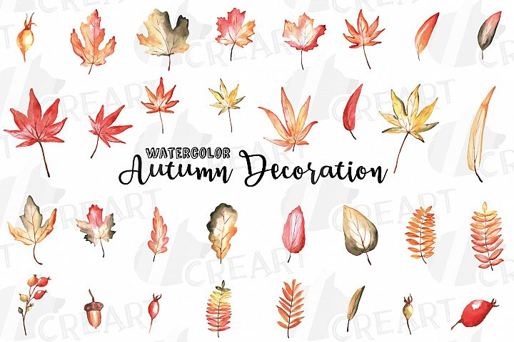 Printable autumn leaves watercolor decoration clip art pack.