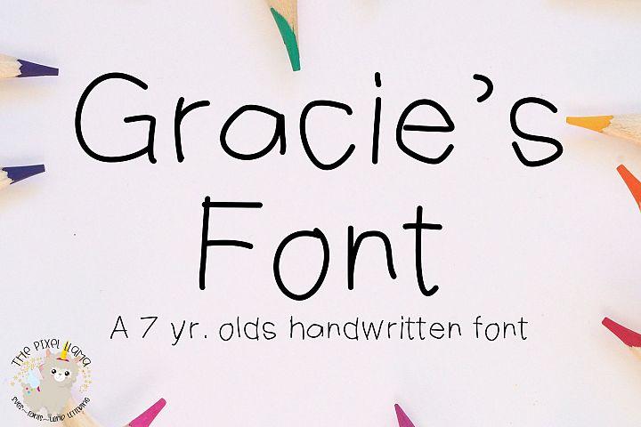 Gracies Font - A 7 Yr Olds Handwritten Font