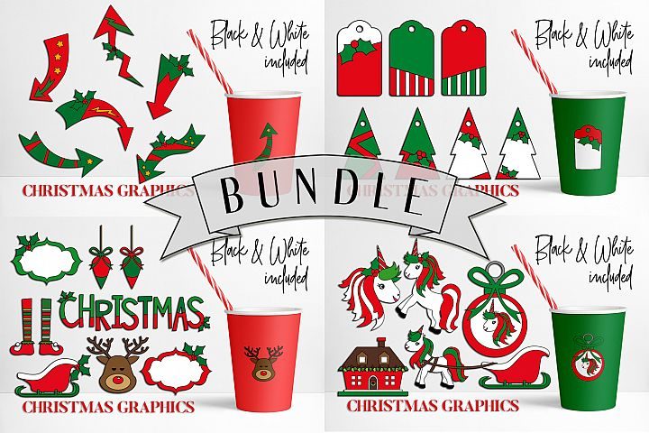 Christmas illustrations bundle in red and green