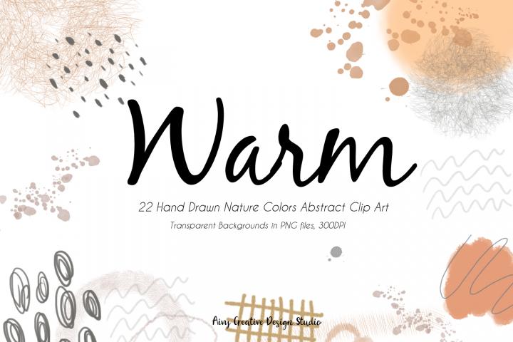 22 Hand Drawn Warm Abstract Clip Art Bundle