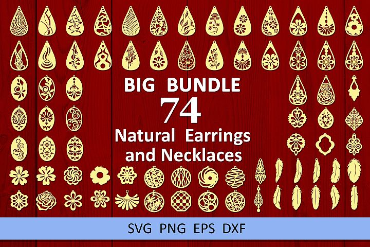 74 Leather earring bundle svg Natural earrings svg Necklaces