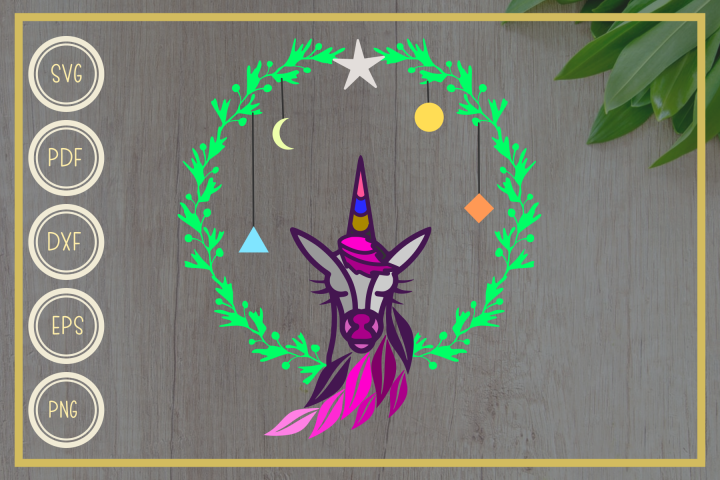 Unicorn svg, Unicorn with Wreath, instant download, cut file