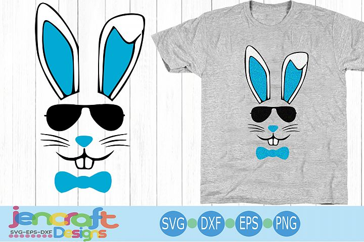 Bunny face svg, Hipster Cool Easter SVG EPS DXF cut file