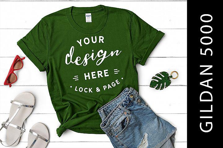 Turf Green Gildan 5000 Womens Knotted T-Shirt Mockup