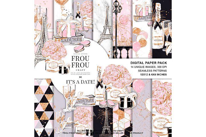 Valentine Anniversary Paris Romantic Love Paper Pack
