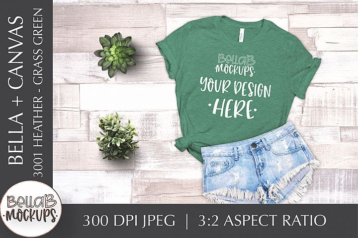 Bella Canvas 3001 Heather Womans T Shirt Mockup-Grass Green